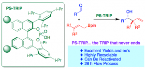 Fig. 1 – Polystyrene-Supported TRIP: A Highly Recyclable Catalyst for Batch and Flow Enantioselective Allylation of Aldehydes.