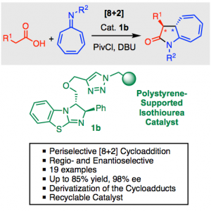 Fig. 2 – Catalytic Asymmetric [8+2] Annulation Reactions Promoted by a Recyclable Immobilized Isothiourea.