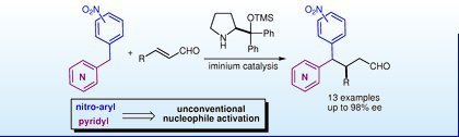 Asymmetric Michael addition of nitrobenzyl pyridines to enals via iminium catalysis