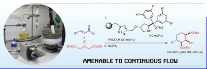 Catalytic batch and continuous flow production of highly enantioenriched cyclohexane derivatives with polymer-supported diarylprolinol silyl ethers