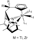 Hybrid scorpionate/cyclopentadienyl titanium and zirconium complexes with alkoxide and imido ligands
