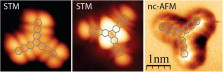 STM and AFM high resolution intramolecular imaging of a single decastarphene molecule