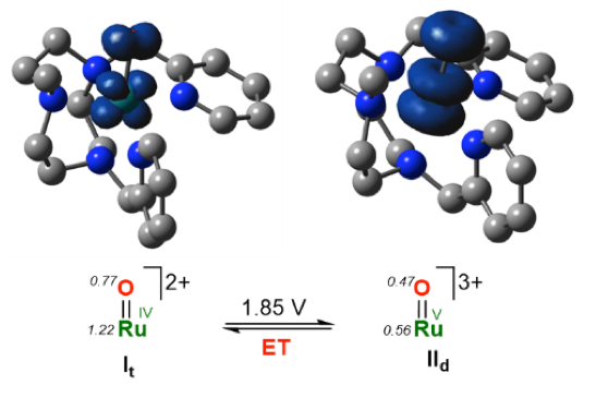 Fig.4. Spin densities calculated for RuIV(O) (It) and RuV(O) (IId).