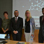 Dr.Fabra with his supervisor, Prof. Carles Bo, and the evaluation committee.