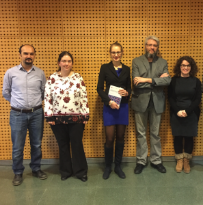 Dr. Hegner with the members of the evaluation committee and one of her supervisors, Prof. José Ramón Galán-Mascarós